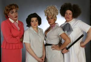 Warden Hope Jenkins (David Cerda), Mary Anderson (Elizabeth Morgan), Big Lorraine (Sydney Genco), and Elsie (Ed Jones). Photo credit: Rick Aguilar Studios